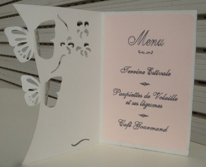 Place card holder with menu inside