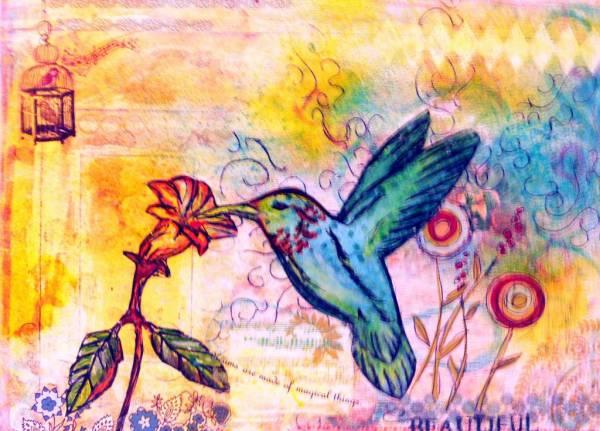 Mixed media humming bird painting
