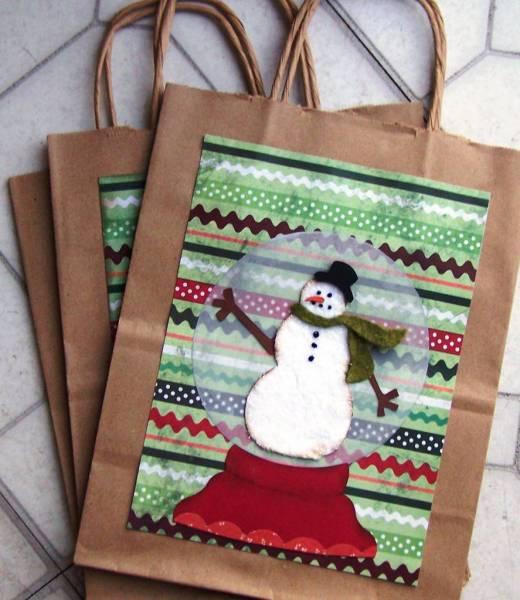 Snowman Snowglobe Gift Bags