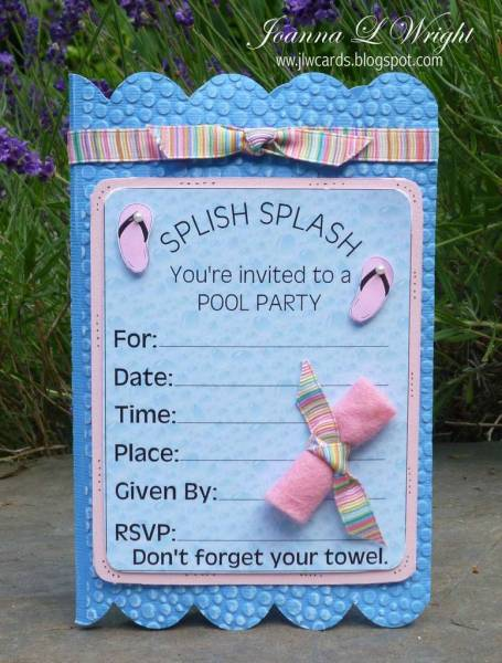 Pool Party Invitation Shaped Card