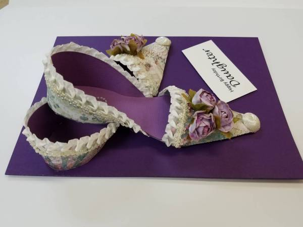 Purple shoe birthday card