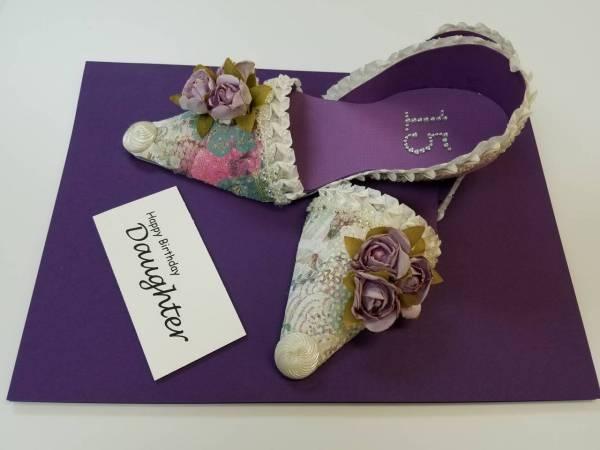 Purple shoe birthday card
