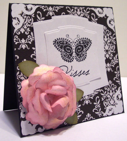 Butterfly Kisses 3-D Rose Card
