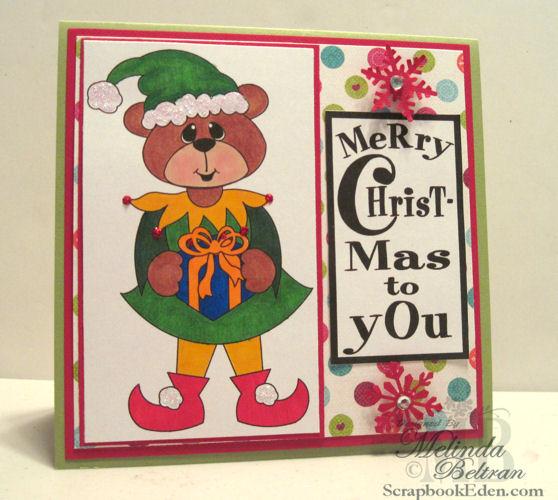 Bear Elf Christmas Card