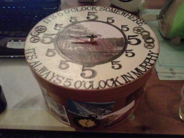 Hat Box Clock for my Secret Sister