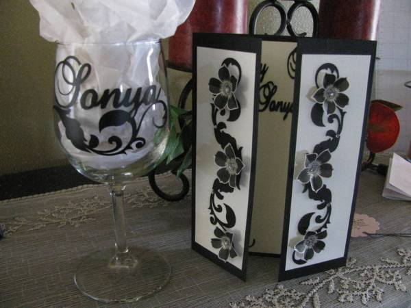 card and wine glass