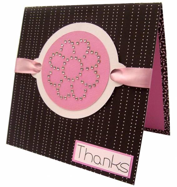 Thanks Flower Rhinestone Card