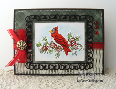 Cardinal In Frame Christmas Card