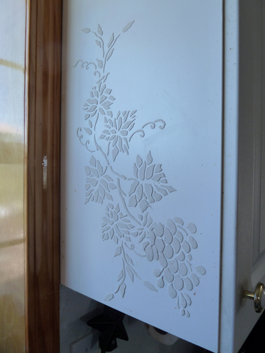 Stenciled Cabinet using Joint Compound