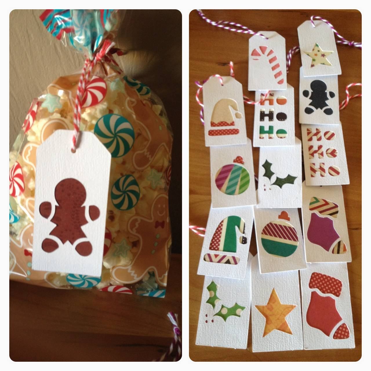 Christmas tags using paper scraps