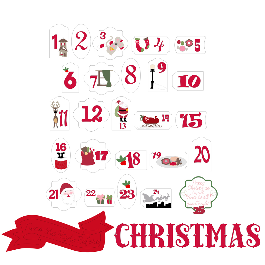 Christmas Advent Tags Cutting Collection