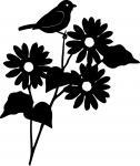 Bird on a Sunflower Silhouette