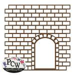 Stencil Brick Wall with Door