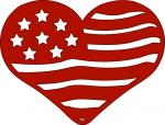 American Flag Heart Silhouette
