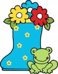 Flowers in Boot with Frog