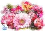 Watercolor Pink Bouquet Click HERE for SVG