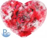 Watercolor Red Rose Heart Click HERE for SVG
