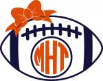 Tailgate Collection:  Monogram Football with Bow