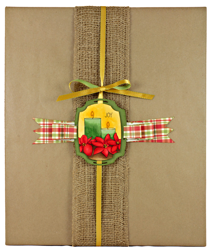 12 Days of Gift Wrapping, Day 12: Poinsettia Candle Tag with Tucked Ribbon