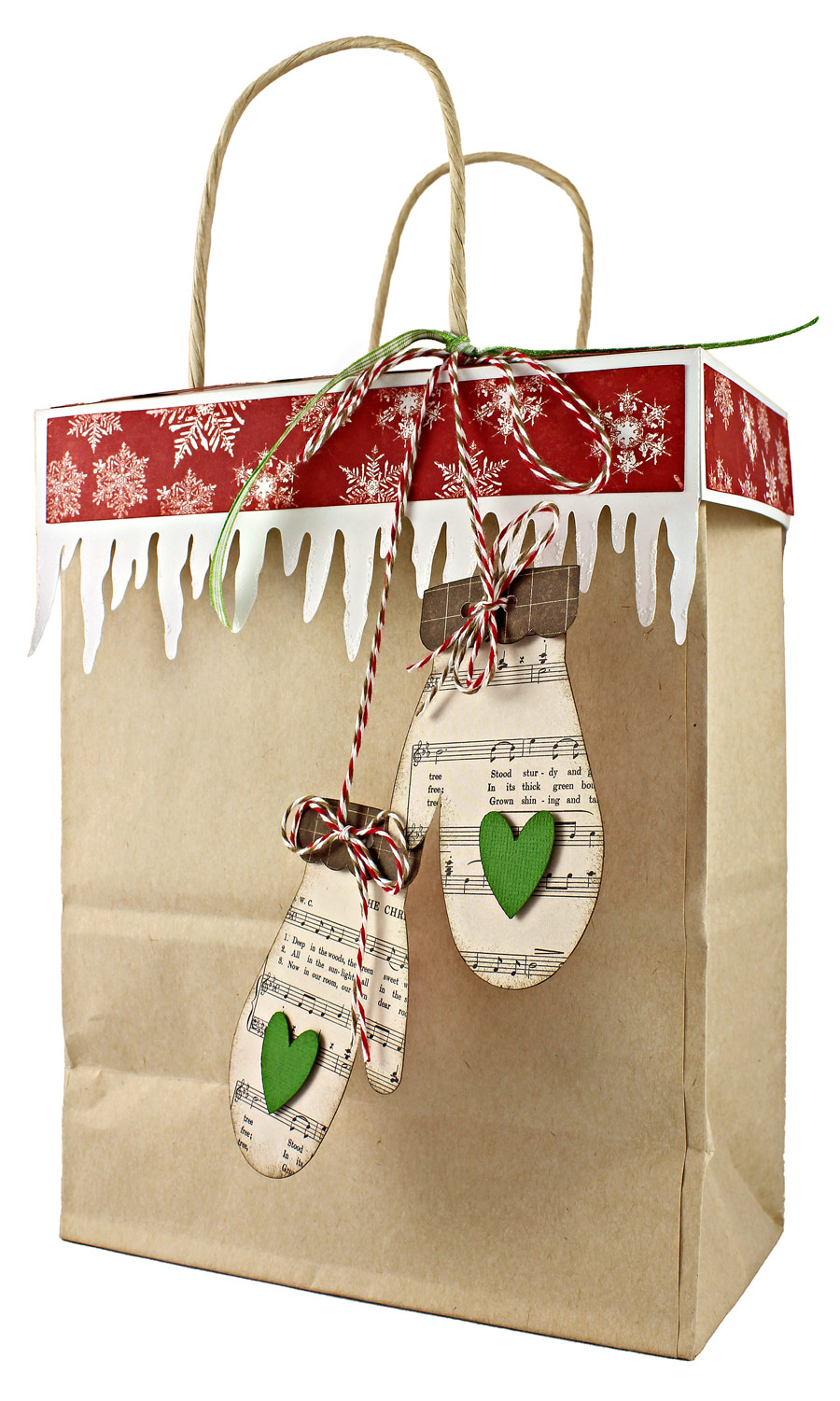 12 gifts of christmas day 3 kraft gift bag topper with mittens