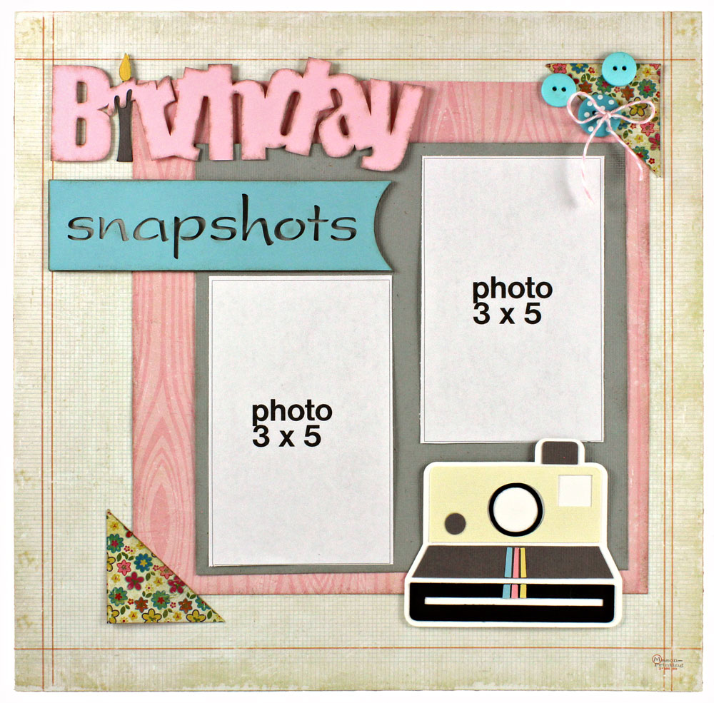12x12 Scrapbook Layout Birthday Snapshots 2 Photo Pazzles Inspiration