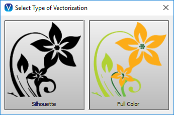 Use the vectorization tool to create silhouette and full color designs from images.