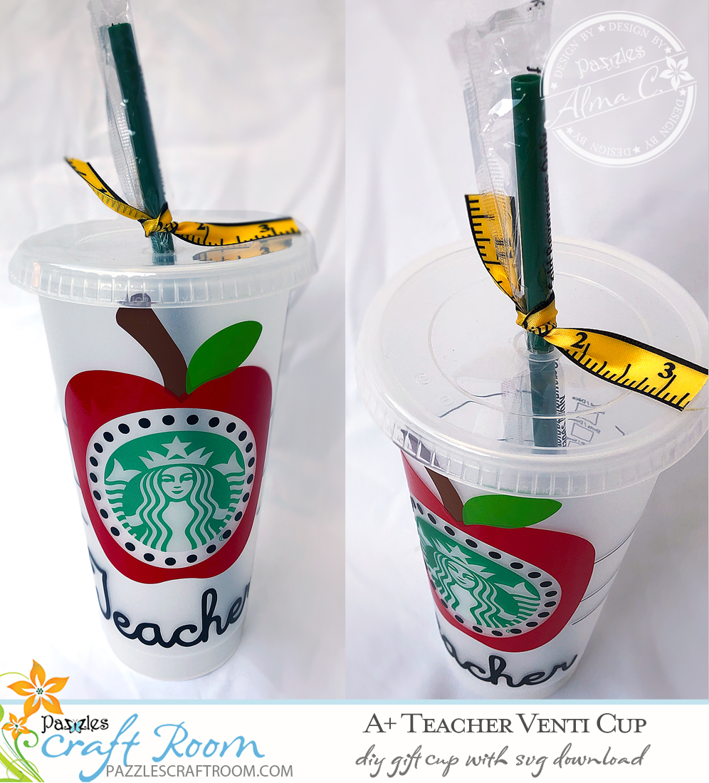Pazzles DIY Coffee Cup Teacher Gift with instant SVG download. Compatible with all major electronic cutters including Pazzles Inspiration, Cricut, and Silhouette Cameo. Design by Alma Cervantes.