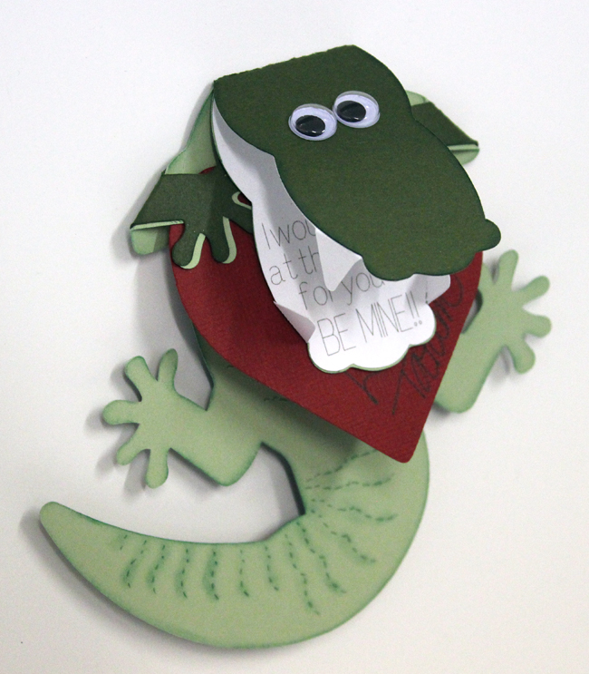 Alligator Valentine's Day Card