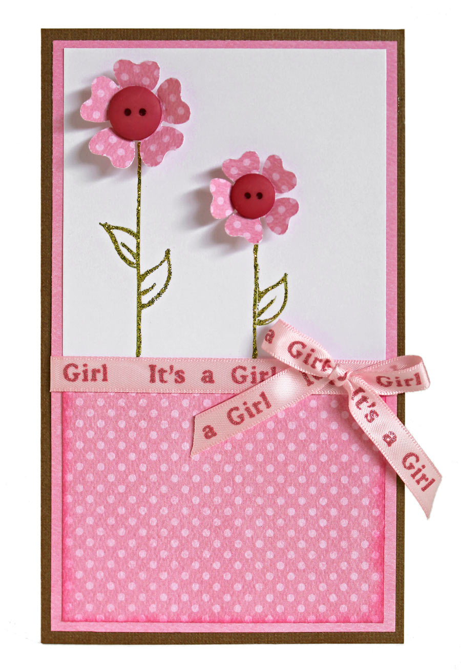 Baby Shower It's a Girl Button Flower Card by Angie Contreras for Pazzles Craft Room