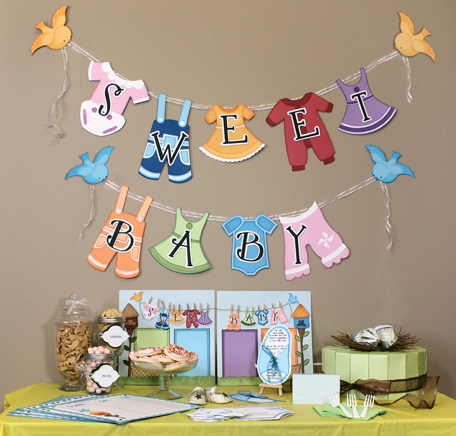 Seven days of parties with the new party cutting file cd for Baby shower party decoration ideas
