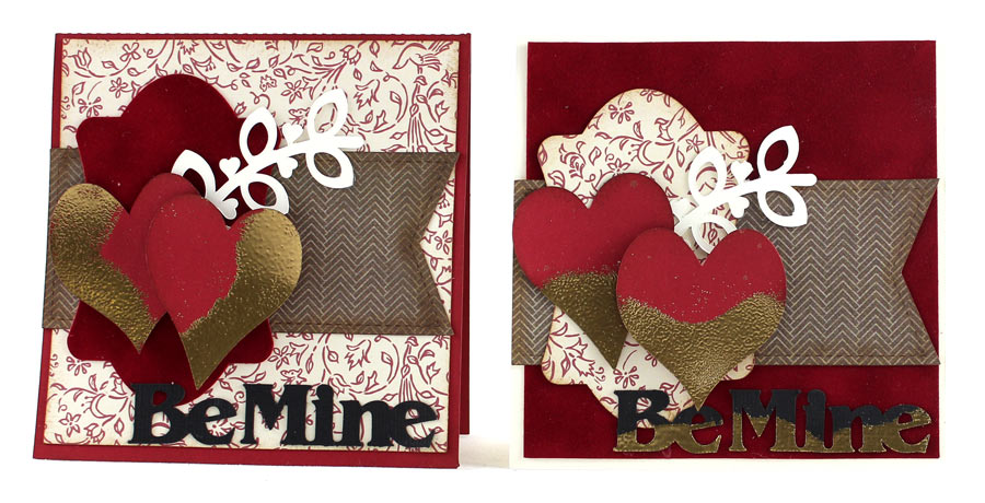 Be My Valentine Card. Gold dipped hearts tutorial.