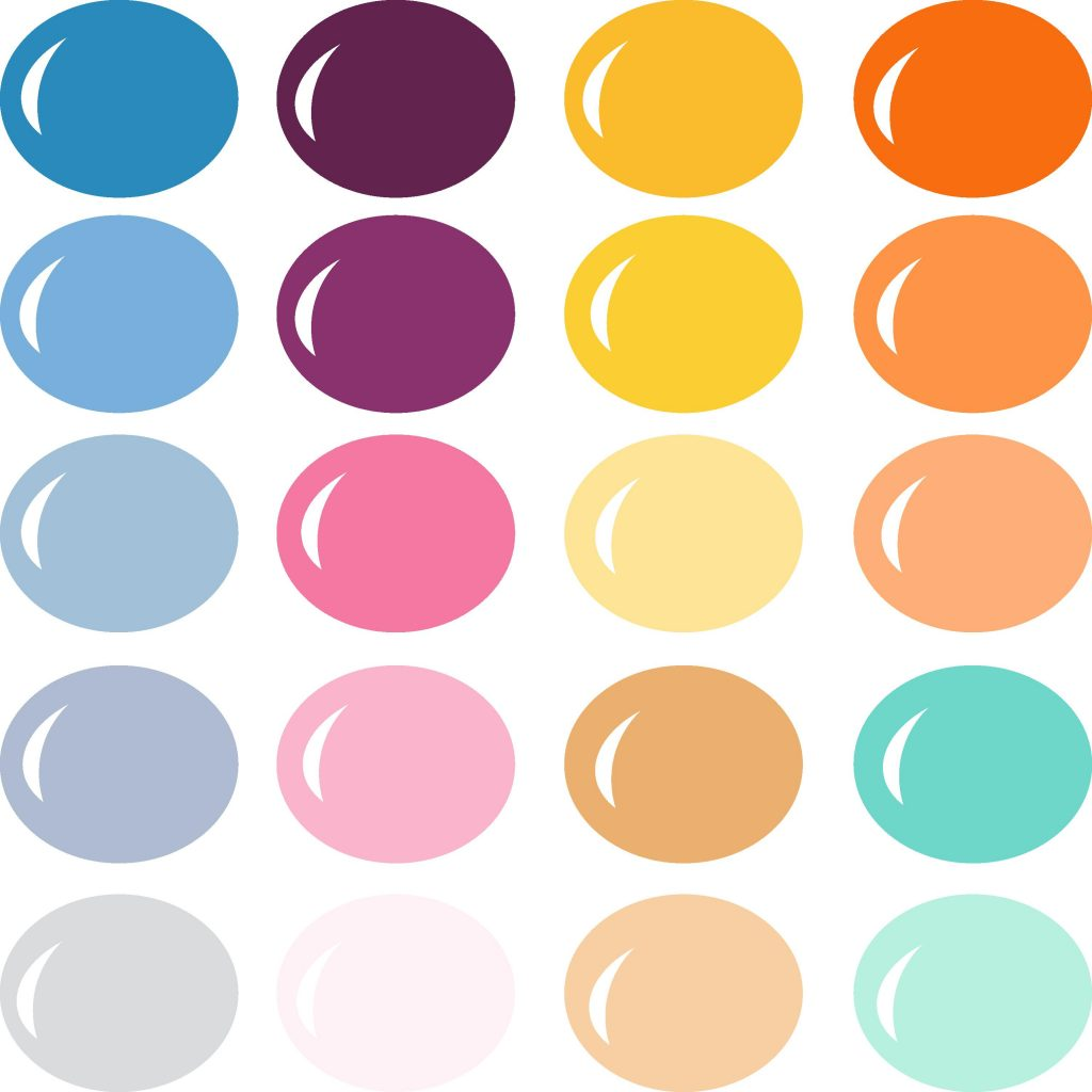 A color palette inspired by the rainbow of a sun setting over the beach with deep purples, sunshine yellows, golds, pinks, and, of course, blues in every shade.