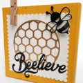 Pazzles DIY Beelieve Decorative Block with instant SVG download. Compatible with all major electronic cutters including Pazzles Inspiration, Cricut, and Silhouette Cameo. Design by Renee Smart.