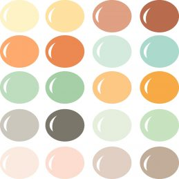 Neutral earthy colors create the perfect boho chic palette with terracotta oranges, sage green, cream pink, khaki brown, stone gray, rain blue, light ochre yellow, mint green and more!