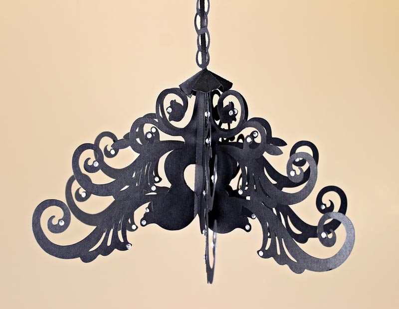 Hanging Black Faux Wrought Iron Chandelier