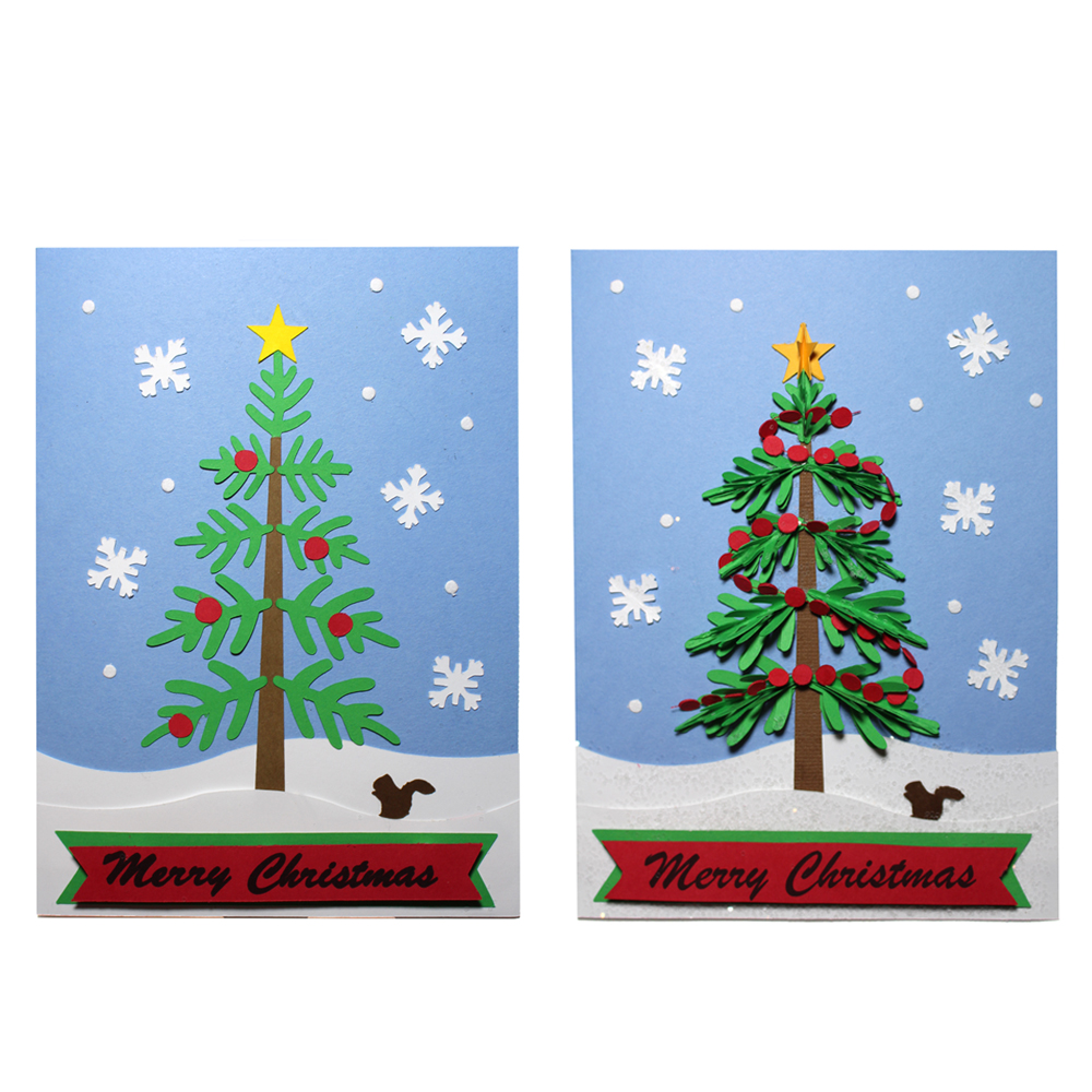 Christmas Tree Pieced Card Two Ways - Pazzles Craft Room