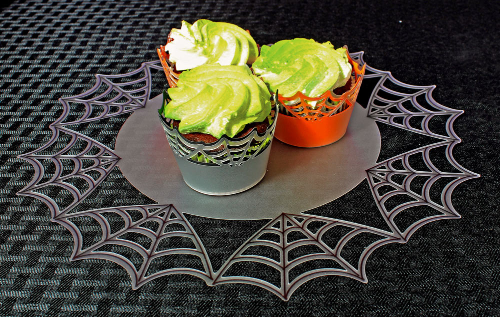 Spider Web Cupcakes and Doily