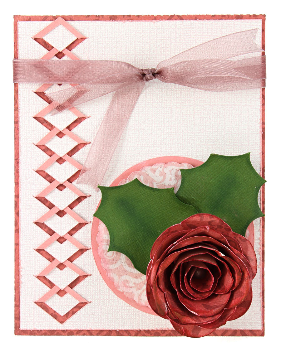 Cut and Fold Diamond Border Dimensional Rose Card
