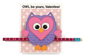 DIY Classroom Valentines Heart Owl Card Pencil Holder
