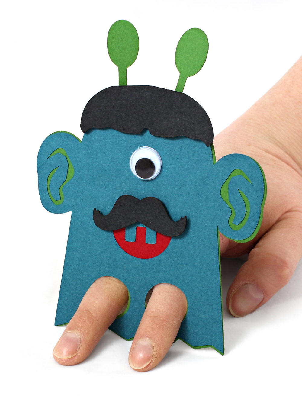 DIY Classroom Valentines Scary Monster Finger Puppet with Hand