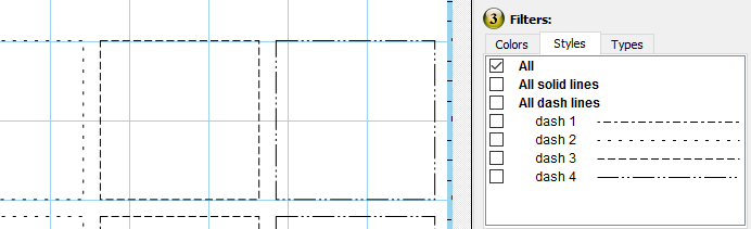 New line style filtering options in the cut control panel allow you to filter by dash line patterns.