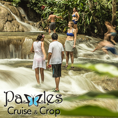 Visit Dunns River Falls in Falmouth, Jamaica while you're on Pazzles Cruise and Crop