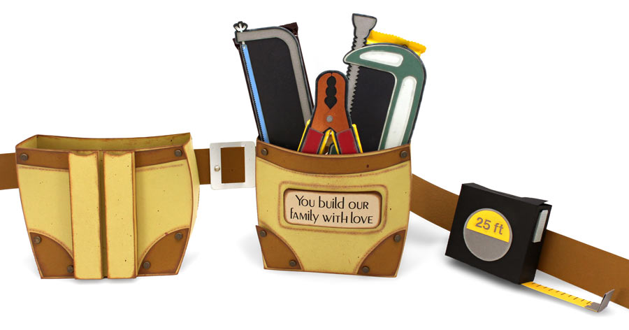 Father's Day Tool Belt with Tools and Tape Measure