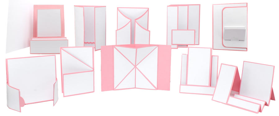 A collection of fun fold card bases for stampers and papercrafters. card base cutting files in SVG, WPC, AI.