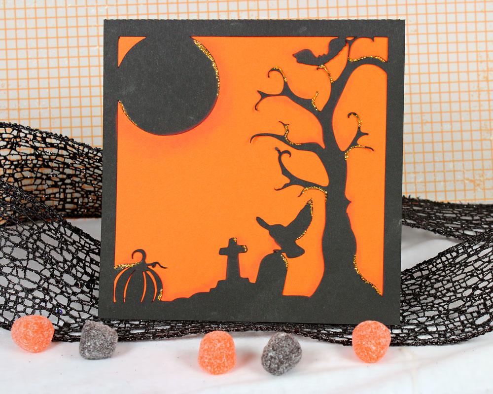 Halloween Spooky Cemetery Overlay Card
