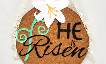 Pazzles DIY He Is Risen Sign for Easter. Instant SVG download compatible with all major electronic cutters including Pazzles Inspiration, Cricut, and Silhouette Cameo. Design by Renee Smart.