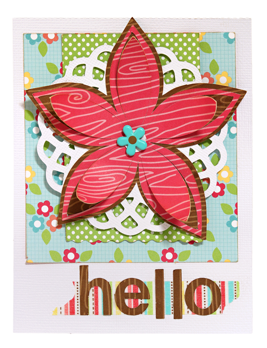 Hello Dimensional Flower Card with Doodlebug Flower Box