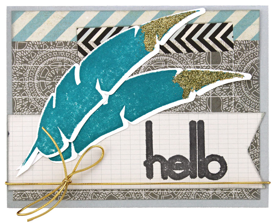 Hello Two Feather Make Your Own Stamp Kit Card