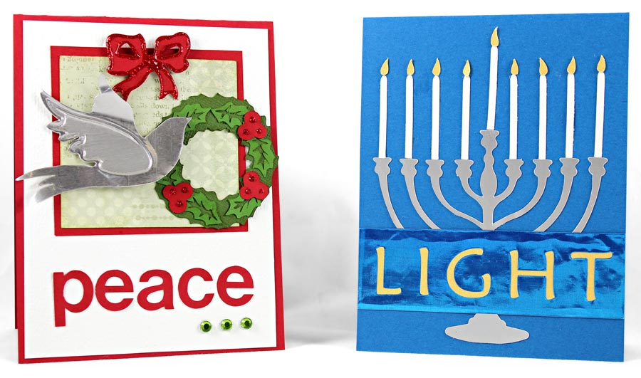 Holiday Peace and Jewish Hannukah Light Metal Embellishment Cards