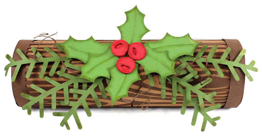 Holiday-Yule-Log-with-Holly-Berries-Front-View